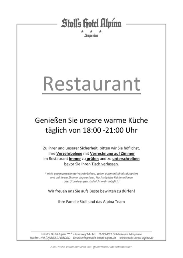 Speise & Getränkekarte 2021