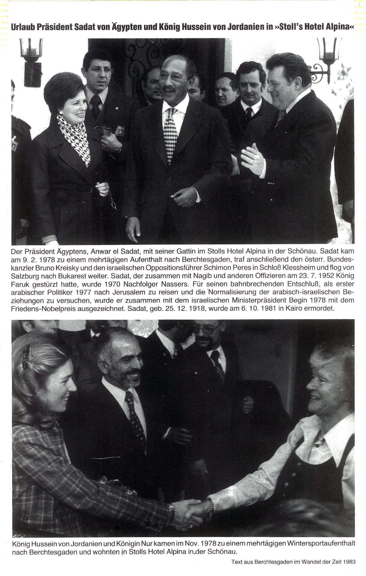 """Februar 1978: Urlaub Präsident Sadat von Ägypten und König Hussein von Jordanien in """"Stoll's Hotel Alpina"""""""