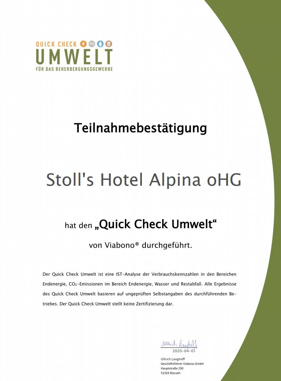 Stoll´s Hotel Alpina oHG Viabono Zertifikat Urkunde
