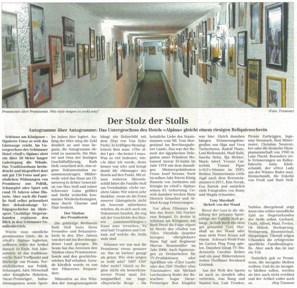 Der Stolz der Stolls – Autogramme über Autogramme: Das Untergeschoss des Hotels Alpina gleicht einem riesigen Reliquienschrein – Artikel im Berchtesgadener Anzeiger